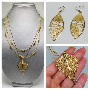 3 gold necklace bundle + earrings 14k gold filled